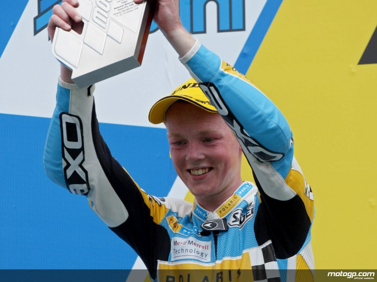 Bradley Smith celebrates podium at Sepang (125cc)