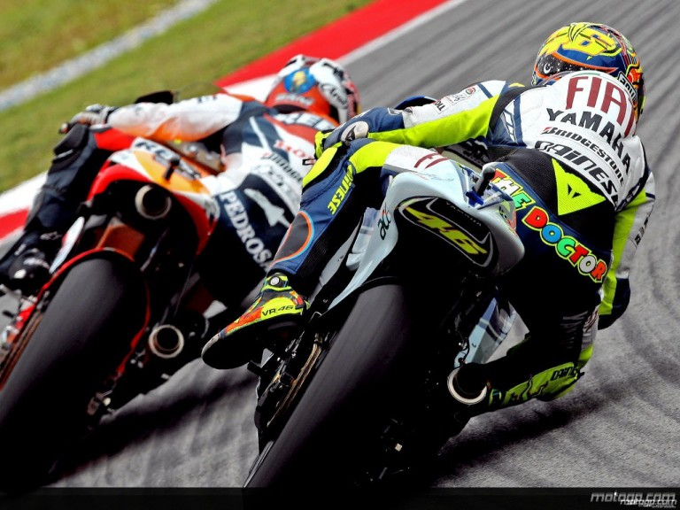Valentino Rossi chasing Dani Pedrosa in Sepang