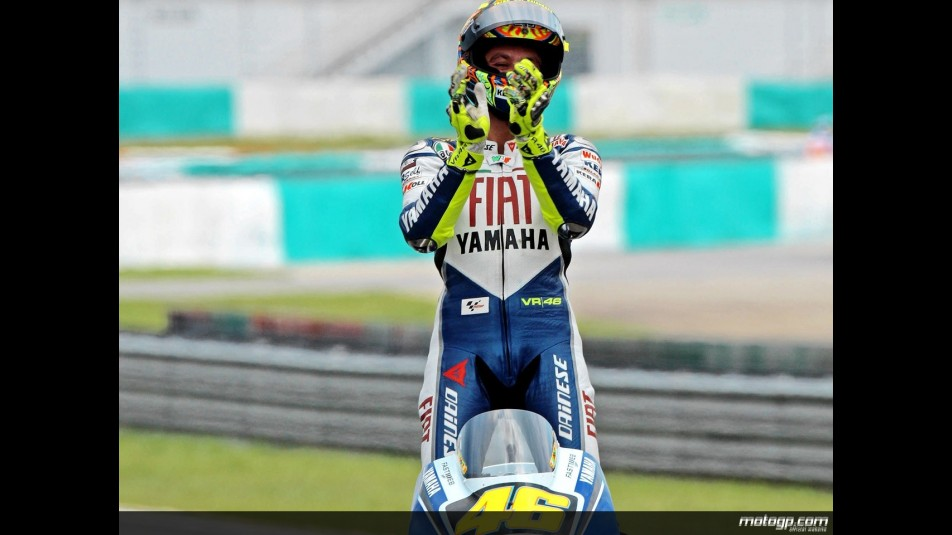 Valentino Rossi celebrates victory after the race in Sepang