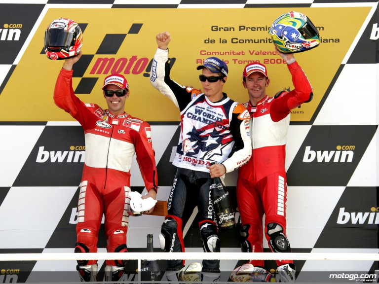 Loris Capirossi, Nicky Hayden and Troy Baylis on the Podium at Valencia, 2006