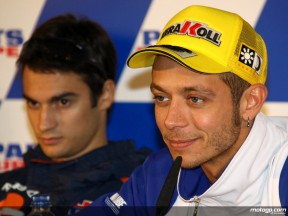 Valentino Rossi and Dani Pedrosa at the Gran Premio Parts Europe de la Comunitat Valenciana