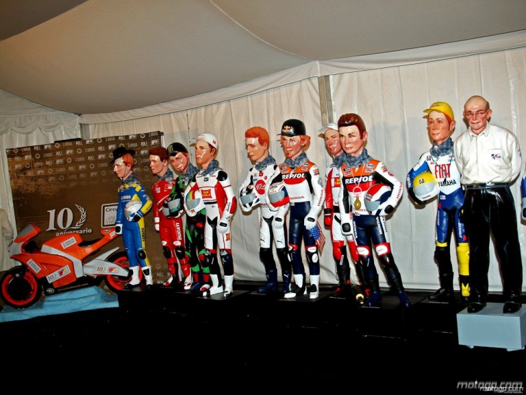 MotoGP rider dolls at the Comunitat Valenciana circuit 10th anniversary
