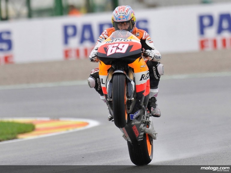 Nicky Hayden in action during Practice in Valencia