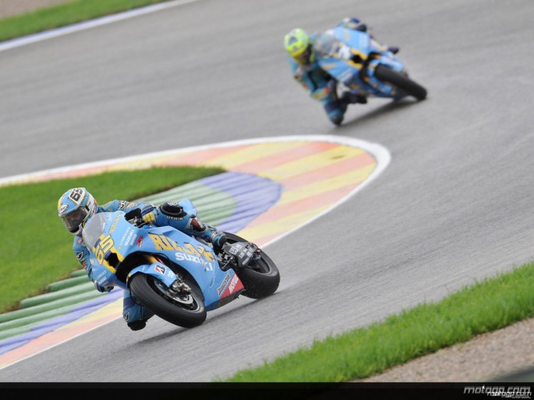 Loris Capirossi and Chris Vermeulen in action during Practice in Valencia