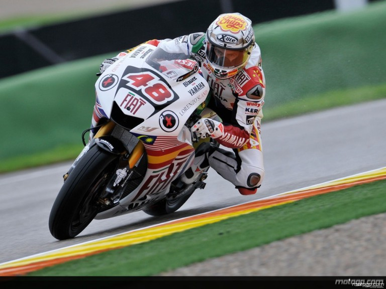 Jorge Lorenzo in action during Practice in Valencia