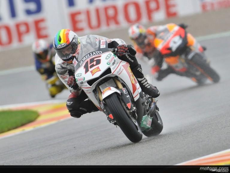 Alex de Angelis in action during Practice in Valencia