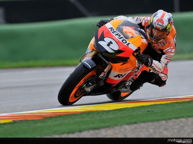 Dani Pedrosa in action during Practice in Valencia