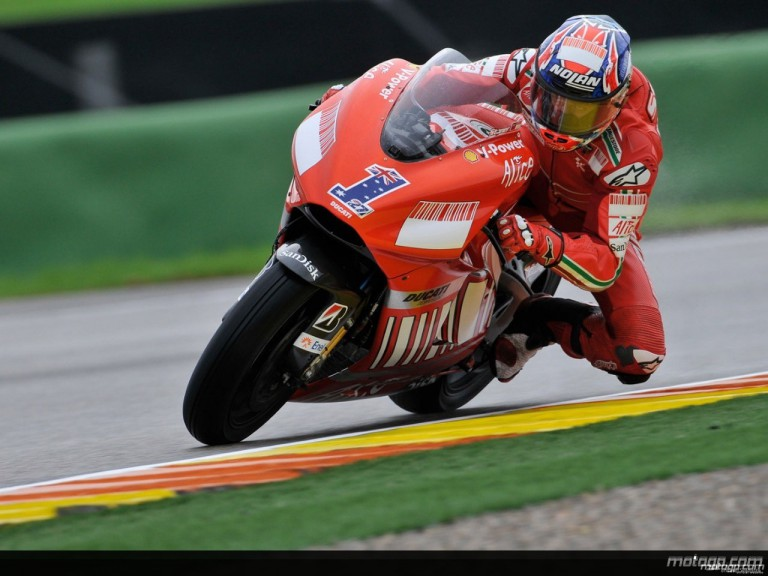 Casey Stoner in action during Practice in Valencia