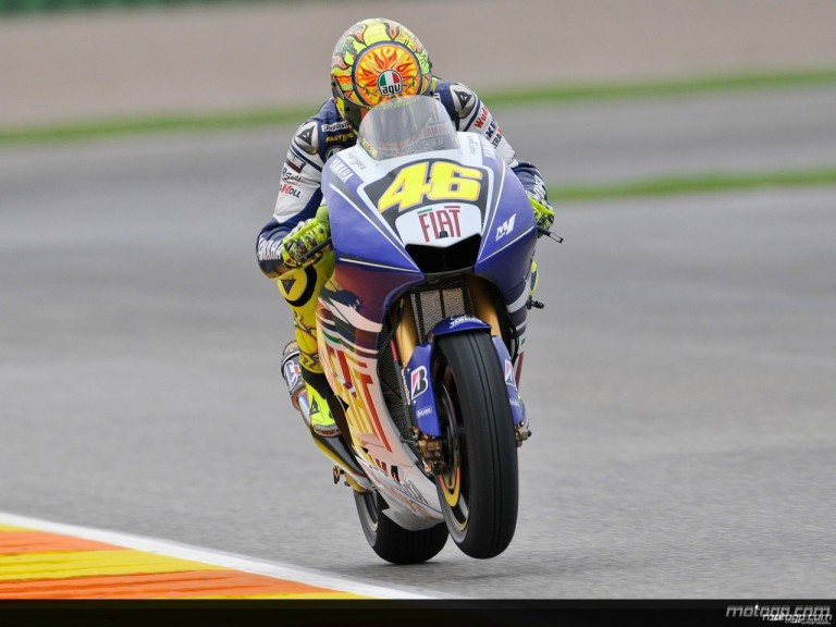 Valentino Rossi in action in Valencia