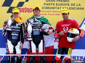 Nicolas Terol, Simone Corsi and Mike di Meglio on the podium at Valencia