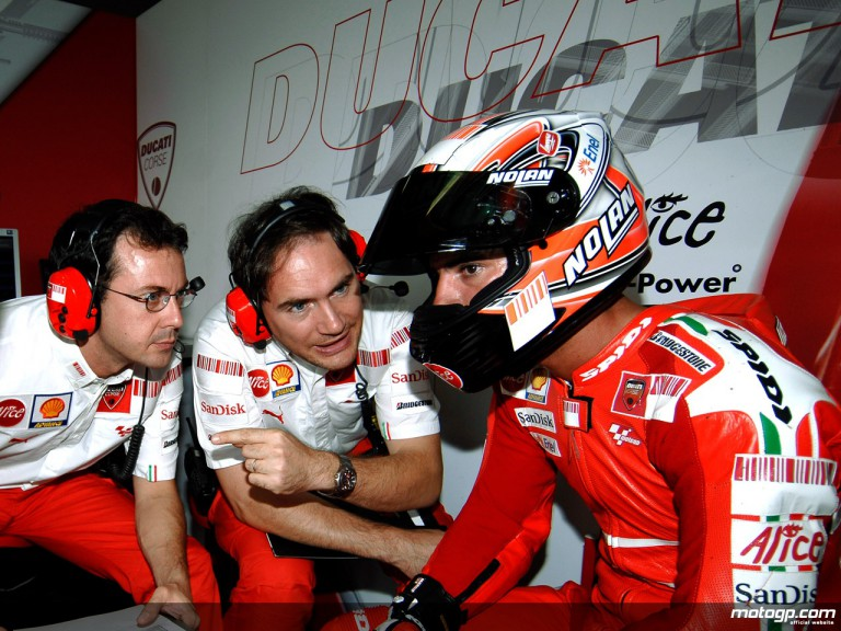 Marco Melandri in the Ducati Marboro garage