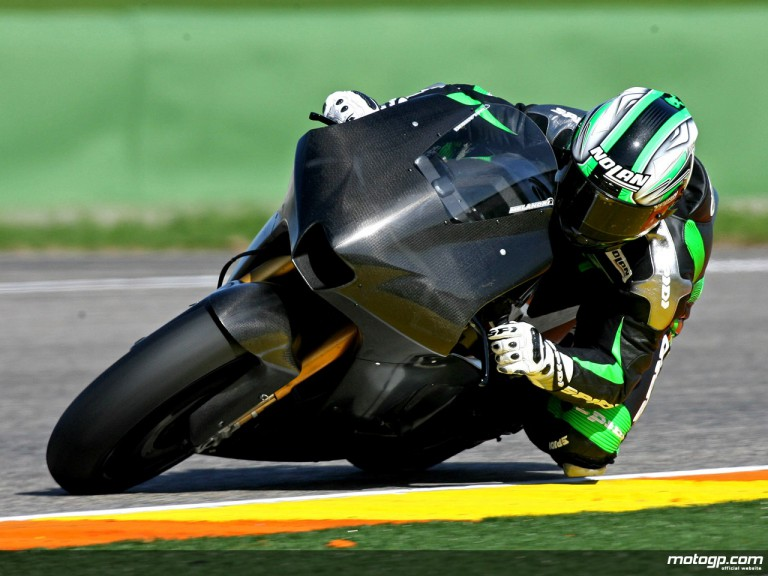 Melandri with Kawasaki Racing at the Valencia test
