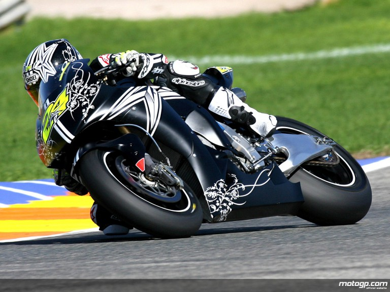 Toni Elias on factory-spec Honda RC212V at Valencia test