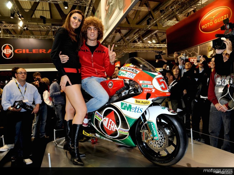 250cc World Champion Marco Simoncelli on his title winning Gilera