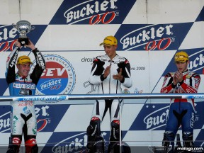 Efren Vazquez, Randy Krummenacher and Pere Tutusaus at the podium in Jerez Circuit