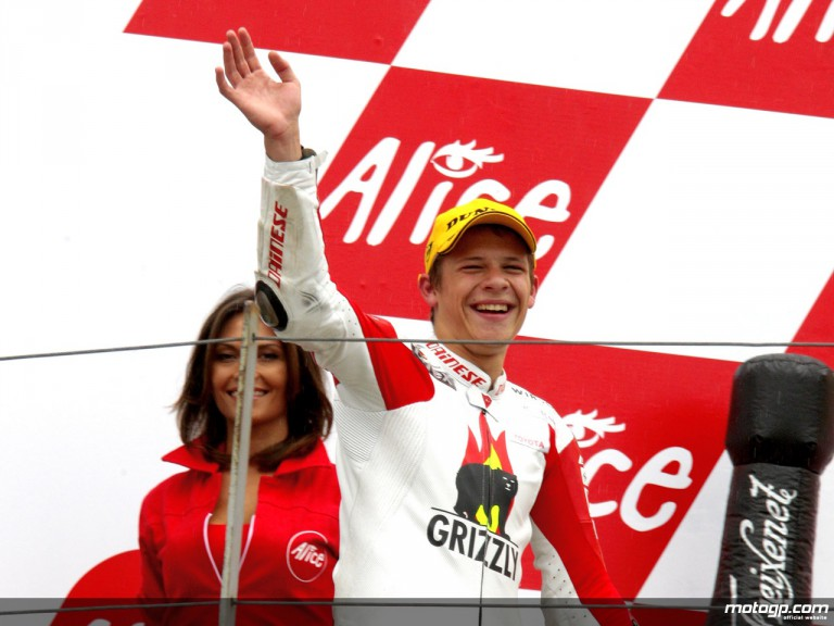 Stefan Bradl on the Podium at Sachsrenring (125cc)