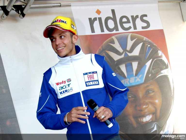 Valentino Rossi at the Riders for Health auction at Donington Park