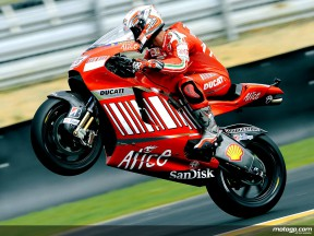 Marco Melandri pulls off a wheelie