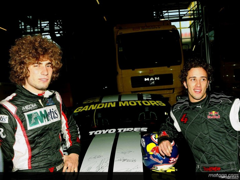 Marco Simoncelli and Andrea Dovizioso at the Bologna Motorshow