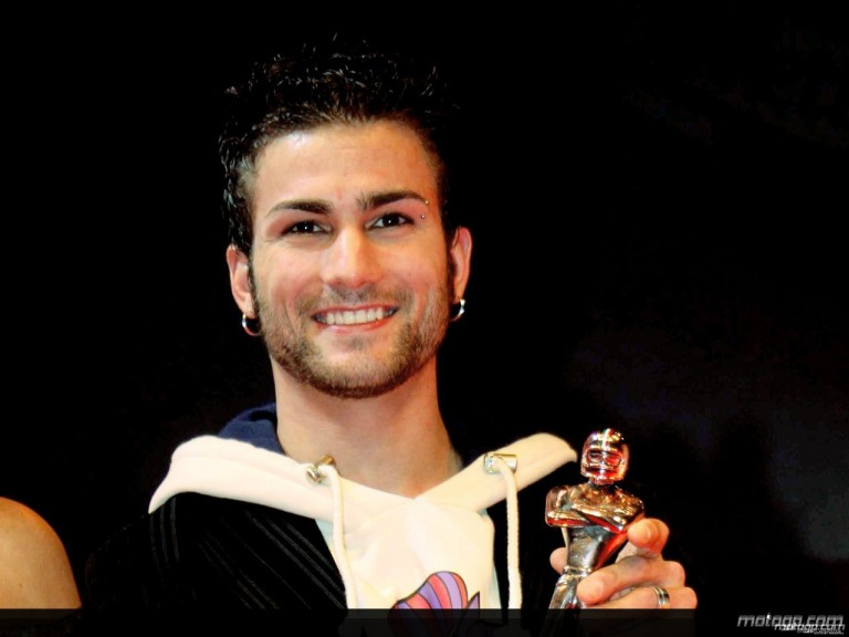 Mattia Pasini receiving `Golden Helmet´ at Bologna Motorshow