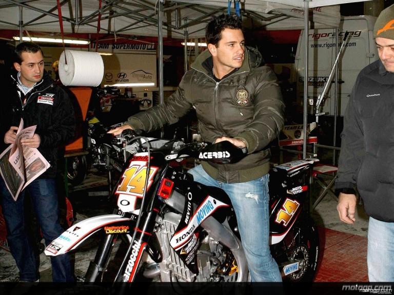 Randy de Puniet at the Bologna Motorshow Supermoto Event