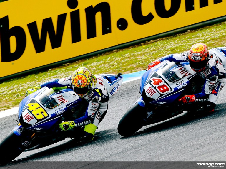 Yamaha´s Valentino Rossi and Jorge Lorenzo on track