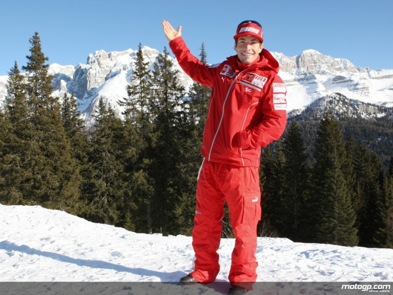 Nicky Hayden at the Madonna di Campiglio ski resort