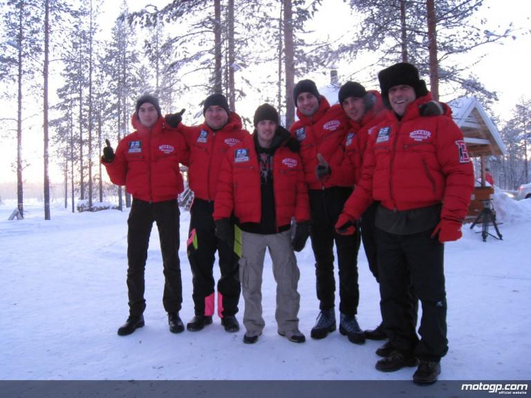 Mika Kallio and the Pramac Racing Team staff in Finland