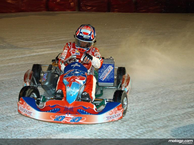 Casey Stoner en route to 2009 Wrooom ice kart victory