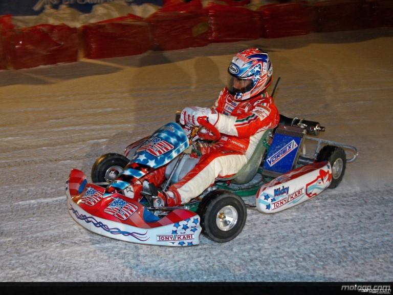 Nicky Hayden enjoys ice kart race at Ducati 2009 Wrooom event