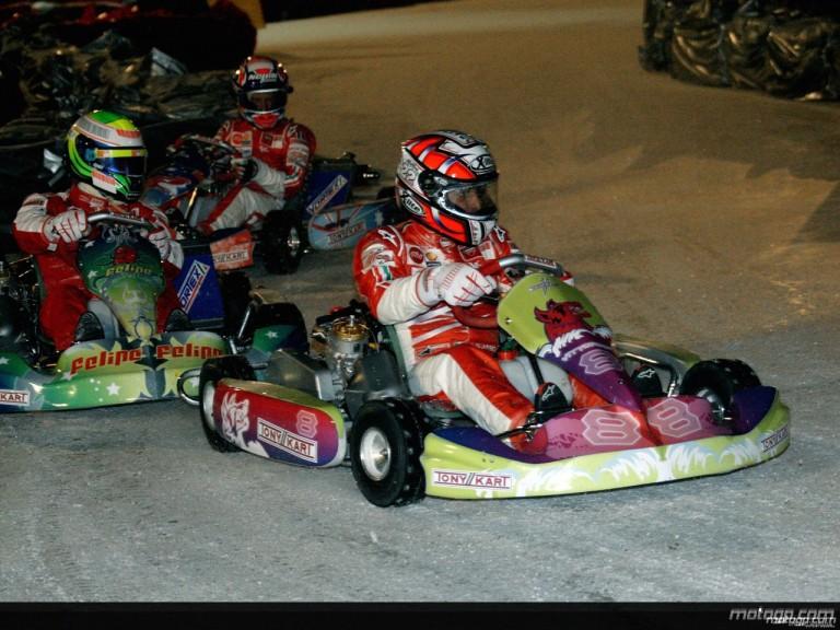 Vittoriano Guareschi participates in 2009 Ducati Wrooom ice kart race