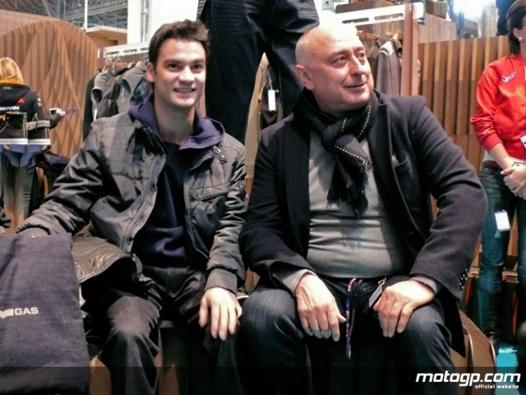 Repsol Honda´s Dani Pedrosa and GAS´ Claudio Grotto at the Bread & Butter Fashion Show