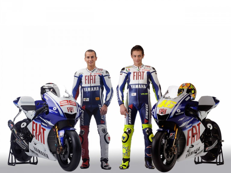 Yamaha riders Lorenzo and Rossi with the new 2009 YZR-M1