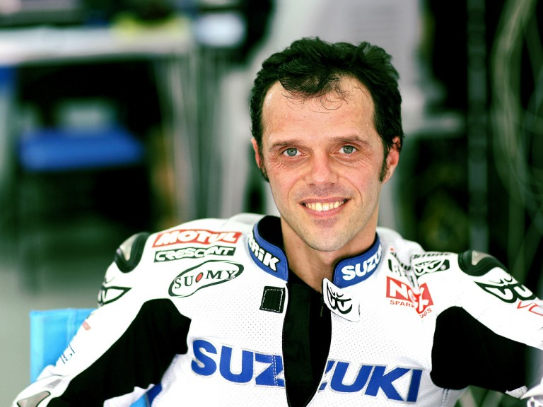 Loris Capirossi in Suzuki garage