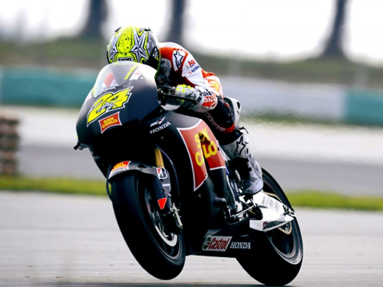 Toni Elias in action at Sepang test