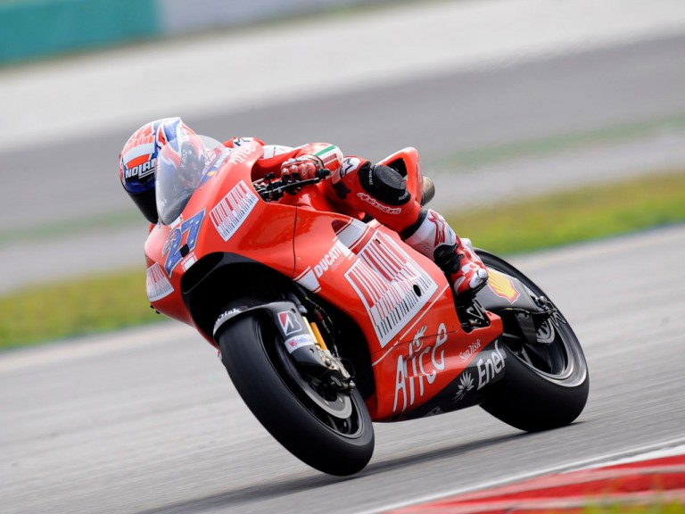 Ducati Marlboro's Casey Stoner testing the new Desmosedici GP9 at Sepang