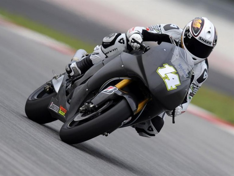 Randy de Puniet testing the new Satellite Honda RC212V at Sepang