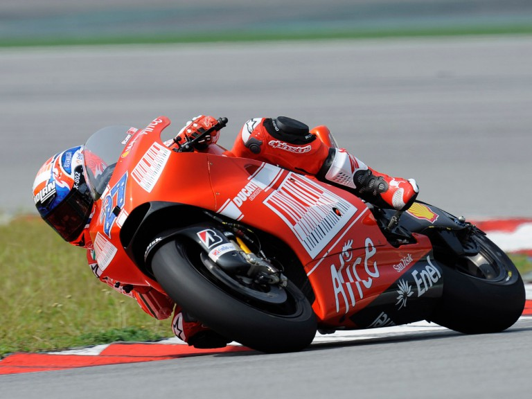 Casey Stoner testing the Ducati Desmosedici GP9 at the Sepang circuit