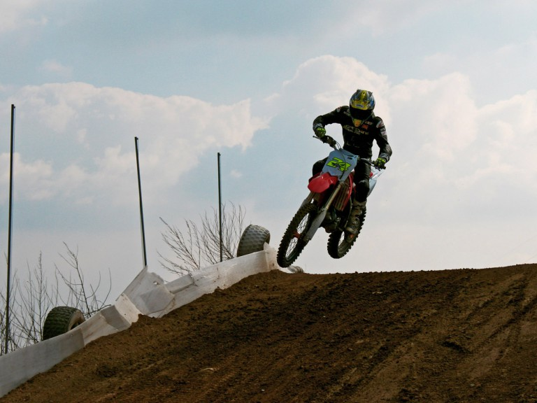 Toni Elias training on Motocross machinery