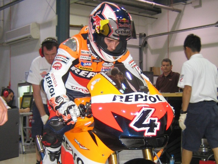 Repsol Honda's Andrea Dovizioso getting ready for the Qatar Night Test