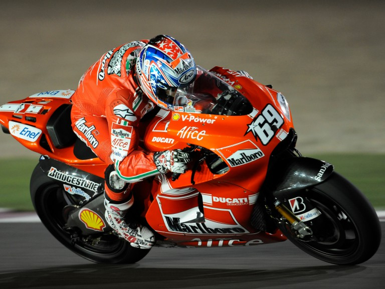 Ducati Marlboro's Nicky Hayden at the Losail Circuit Qatar Night Test