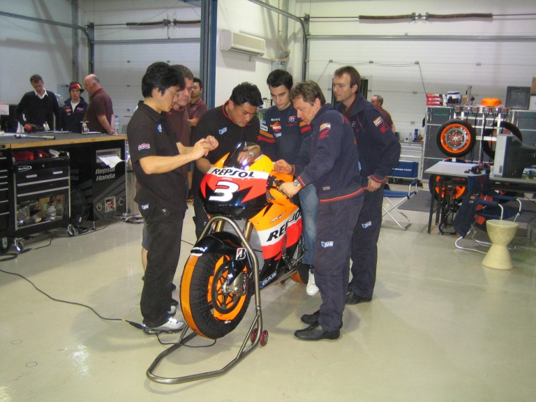 Dani Pedrosa in the Repsol Honda garage at the Losail circuit