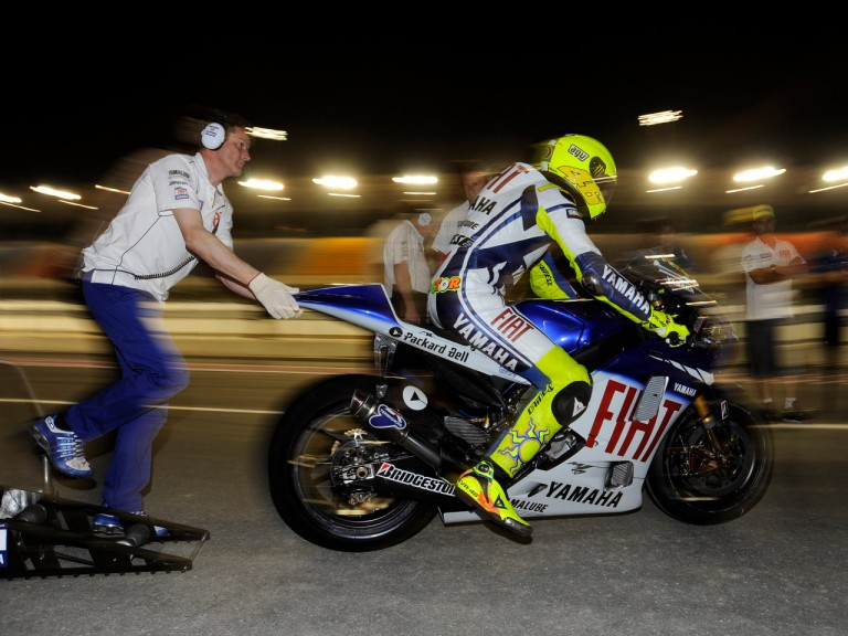 Valentino Rossi leaving the pitlane during the Qatar Night Test