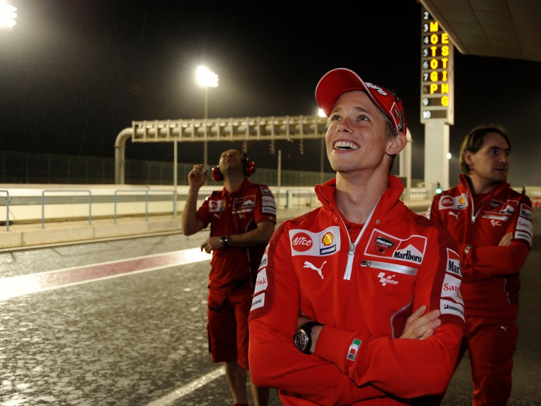 Casey Stoner in the pitlane at the Losail circuit