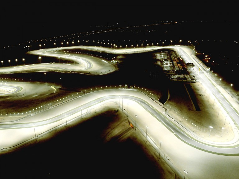 Aerial shot of Losail Circuit in Qatar