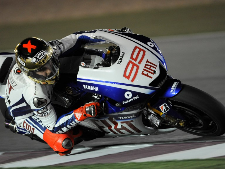 Spaniard Jorge Lorenzo on track at the Losail International Circuit