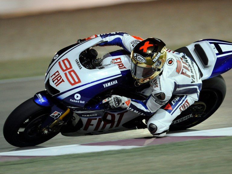 Fiat Yamaha's Jorge Lorenzo in action at the Qatar Night Test