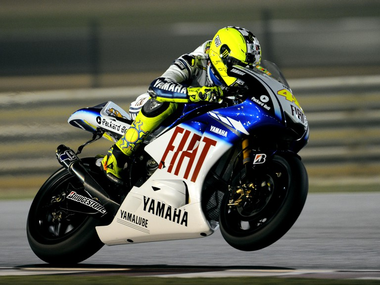 Valentino Rossi working on the new 2009 YZR-M1 Yamaha at the Qatar Night Test