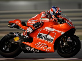 Casey Stoner in action at the Losail Qatar Night Test