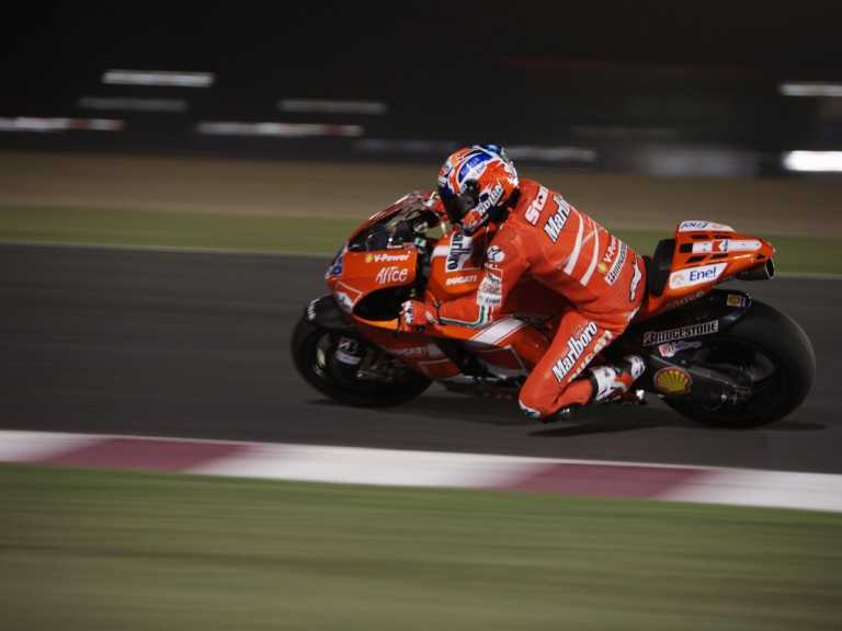 Casey Stoner in action at the Losail International Circuit